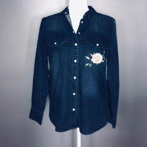 Denim Snap Up Shirt Floral Details